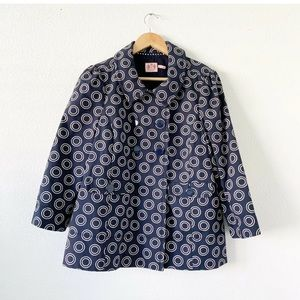 Juicy Couture Blue Circle Print Breasted Jacket L
